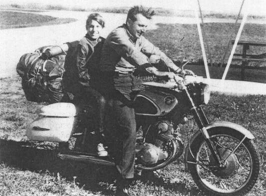 Pirsig with Son, Chris on a 1964 Honda SuperHawk, CB77